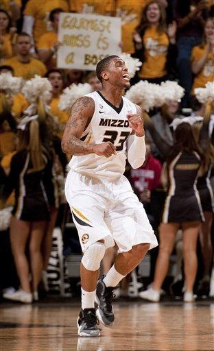 Missouri's Earnest Ross celebrates after making a shot during the second half of an NCAA college basketball game against South Carolina Tuesday, Jan. 22, 2013, in Columbia, Mo. Ross led all scorers with a career best 21 points. Missouri won the game 71-65. (AP Photo/L.G. Patterson)