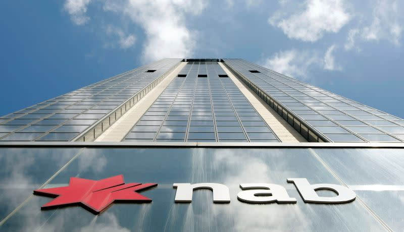 FILE PHOTO: Company logo indicates the front of National Australia Bank house in Sydney
