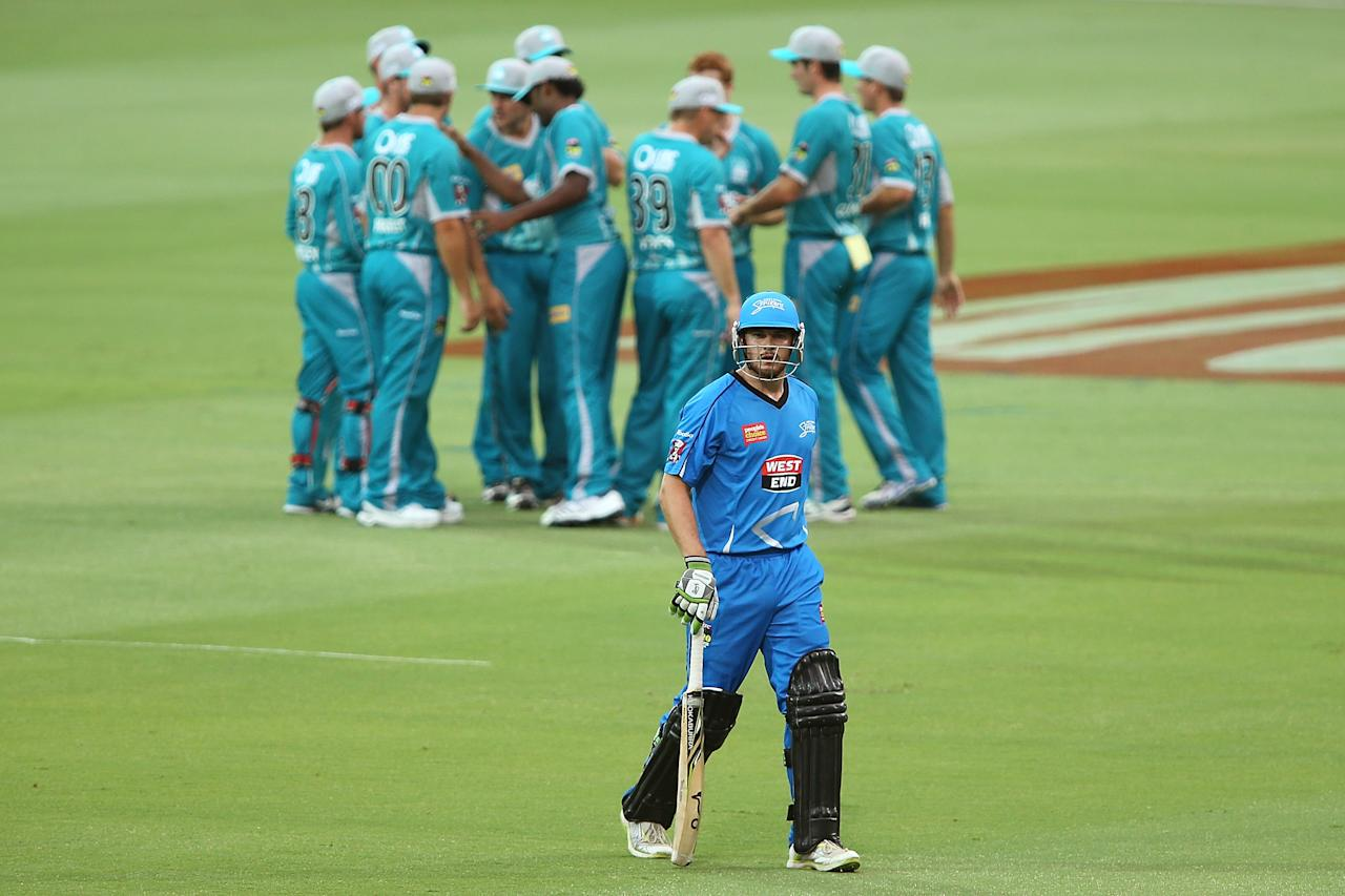 ADELAIDE, AUSTRALIA - DECEMBER 13: James Smith of the Strikers leaves the field after getting out during the Big Bash League match between the Adelaide Strikers and the Brisbane Heat at Adelaide Oval on December 13, 2012 in Adelaide, Australia.  (Photo by Morne de Klerk/Getty Images)