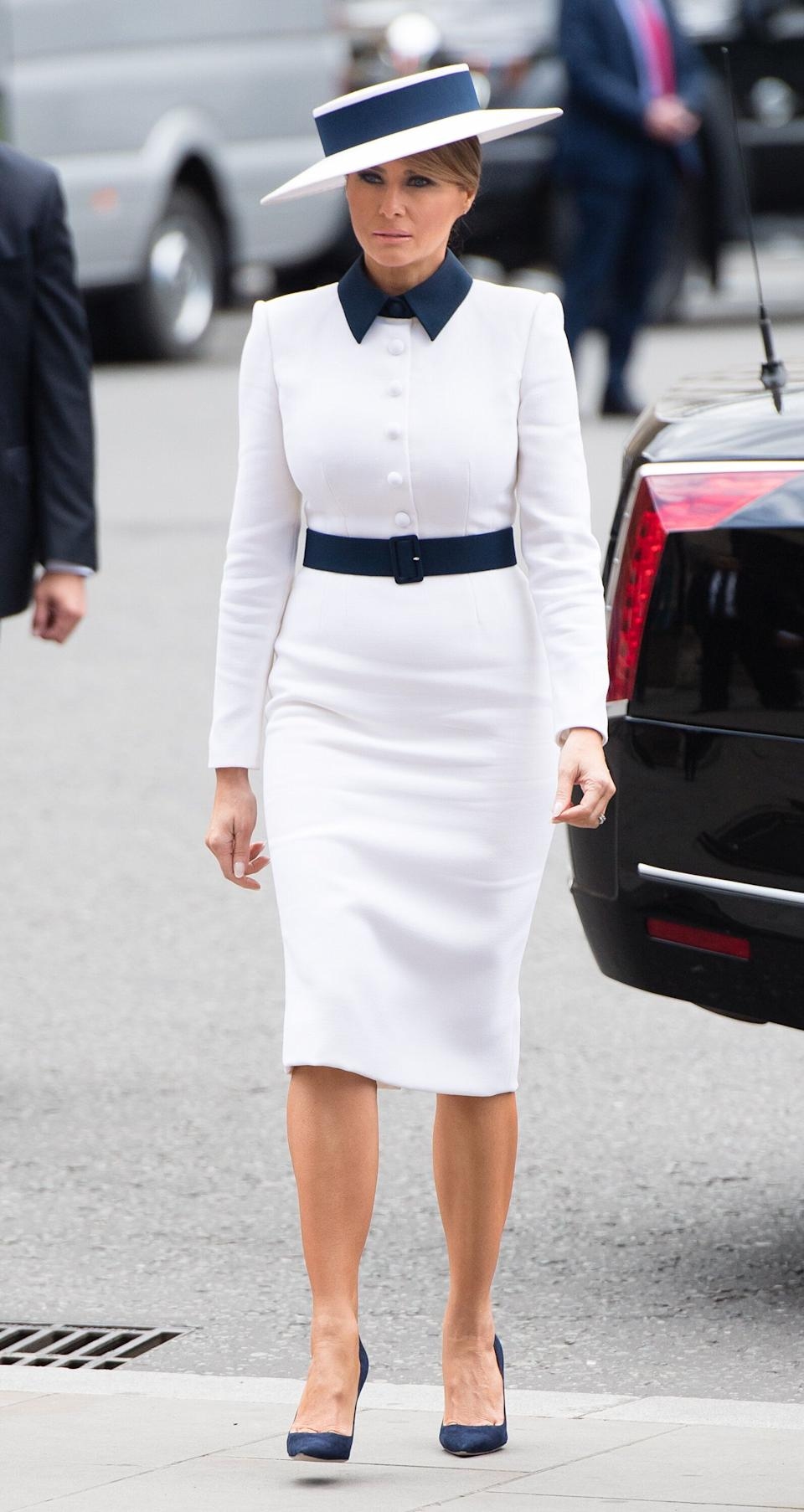 LONDON, ENGLAND - JUNE 03: First Lady Melania Trump arrives for a visit to Westminster Abbey on June 03, 2019 in London, England. President Trump's three-day state visit will include lunch with the Queen, and a State Banquet at Buckingham Palace, as well as business meetings with the Prime Minister and the Duke of York, before travelling to Portsmouth to mark the 75th anniversary of the D-Day landings.  (Photo by Samir Hussein/Samir Hussein/WireImage)
