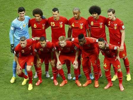 The Belgium team poses for a picture before their 2014 World Cup round of 16 game against the U.S. at the Fonte Nova arena in Salvador July 1, 2014. REUTERS/Ruben Sprich