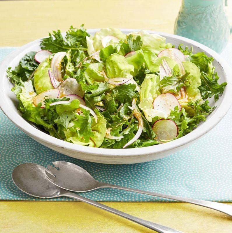 """<p>Bring on <em>all</em> the springy flavors! This veggie-loaded salad sweetens the deal with a unique dressing made up of olive oil, parmesan, sugar, paprika, lemon juice, and garlic.</p><p><strong><a href=""""https://www.thepioneerwoman.com/food-cooking/recipes/a32252420/spring-salad-with-radishes/"""" rel=""""nofollow noopener"""" target=""""_blank"""" data-ylk=""""slk:Get the recipe"""" class=""""link rapid-noclick-resp"""">Get the recipe</a>.</strong></p><p><strong><a class=""""link rapid-noclick-resp"""" href=""""https://go.redirectingat.com?id=74968X1596630&url=https%3A%2F%2Fwww.walmart.com%2Fbrowse%2Fhome%2Fserveware%2Fthe-pioneer-woman%2F4044_623679_639999_2347672&sref=https%3A%2F%2Fwww.thepioneerwoman.com%2Ffood-cooking%2Fmeals-menus%2Fg35589850%2Fmothers-day-dinner-ideas%2F"""" rel=""""nofollow noopener"""" target=""""_blank"""" data-ylk=""""slk:SHOP SERVEWARE"""">SHOP SERVEWARE</a></strong></p>"""