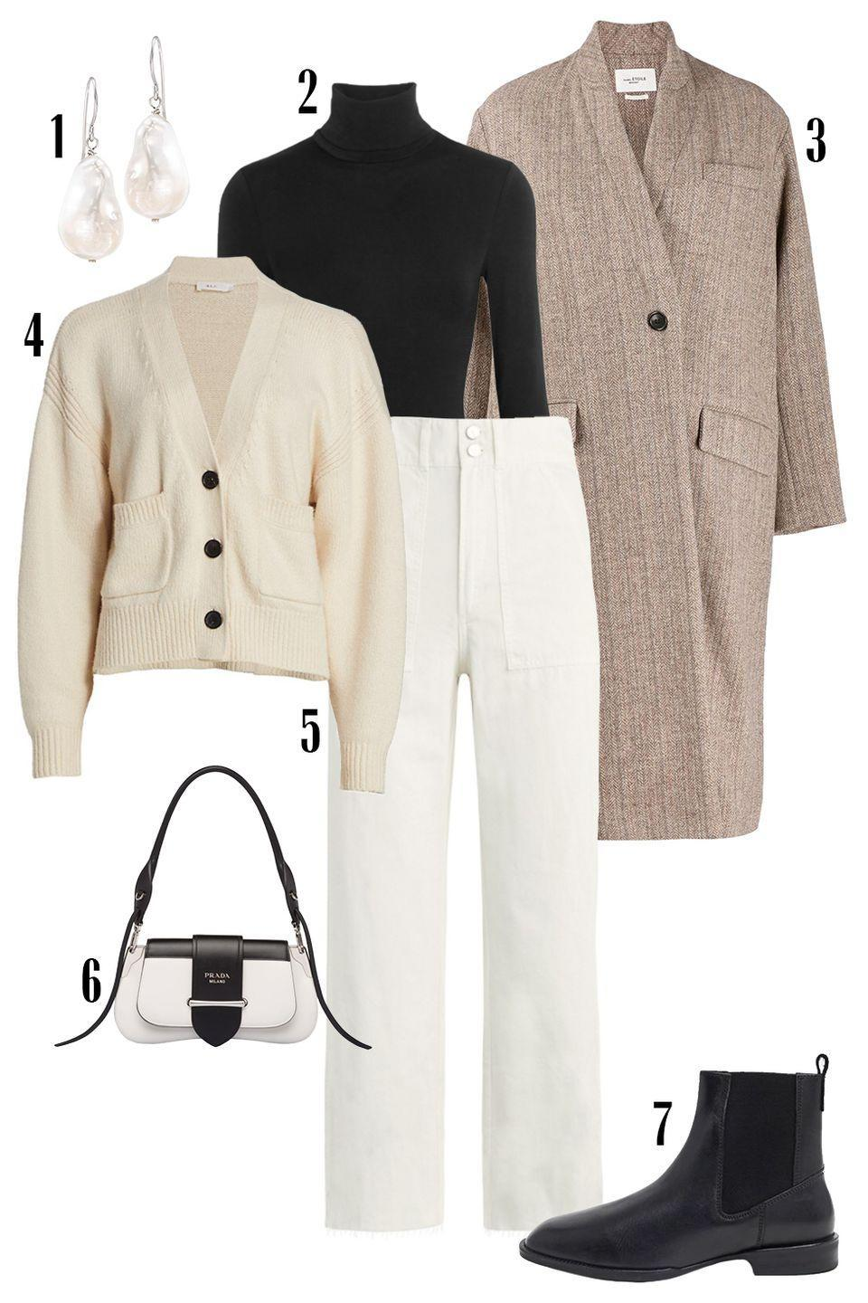 """<p>In a wardrobe rut? Go back to the classics—the essential pieces that you've built your wardrobe on. The white trouser, perfectly roomy cardigan, sturdy Chelsea boot, and slightly slouchy wool coat will never let you down.</p><p>Shop the pieces: <em><a href=""""https://www.amazon.com/Ross-Simons-12-13mm-Cultured-Earrings-Sterling/dp/B07BKS7PD3/ref=sr_1_17_sspa"""" rel=""""nofollow noopener"""" target=""""_blank"""" data-ylk=""""slk:Pearl Drop Earrings"""" class=""""link rapid-noclick-resp"""">Pearl Drop Earrings</a></em><em>s</em><em>,</em> $71; <em><a href=""""https://www.net-a-porter.com/en-us/shop/product/wolford/colorado-thong-bodysuit/618045"""" rel=""""nofollow noopener"""" target=""""_blank"""" data-ylk=""""slk:Wolford Colorado Bodysuit"""" class=""""link rapid-noclick-resp"""">Wolford Colorado Bodysuit</a></em><em>,</em> $250; <em><a href=""""https://www.24s.com/en-us/henlo-coat-isabel-marant-etoile_EIMD45AN?defaultSku=EIMD45ANBEIWF04000&color=Beige&lgw_code=4181-EIMD45ANBEIWF04000&gclid=Cj0KCQiAj9iBBhCJARIsAE9qRtBM9p9l_ZJkiCVRZIh07Qx1CxM-ODzg6A4J72L4v7zTAZSpGFeq-K4aAtY1EALw_wcB&gclsrc=aw.ds"""" rel=""""nofollow noopener"""" target=""""_blank"""" data-ylk=""""slk:Isabel Marant Etoile Coat"""" class=""""link rapid-noclick-resp"""">Isabel Marant Etoile Coat</a></em>, $675; <em><a href=""""https://www.saksfifthavenue.com/product/a.l.c.-vincent-v-neck-knit-cardigan-0400013594848.html?dwvar_0400013594848_color=CREAM"""" rel=""""nofollow noopener"""" target=""""_blank"""" data-ylk=""""slk:A.L.C. Cardigan"""" class=""""link rapid-noclick-resp"""">A.L.C. Cardigan</a></em><em>,</em> $45; <em><a href=""""https://www.saksfifthavenue.com/product/joe-s-jeans-the-blake-utility-pants-0400013563045.html"""" rel=""""nofollow noopener"""" target=""""_blank"""" data-ylk=""""slk:Joe's Jeans"""" class=""""link rapid-noclick-resp"""">Joe's Jeans</a></em>, $188, <em><a href=""""https://www.farfetch.com/shopping/women/prada-sidonie-logo-shoulder-bag-item-14558327.aspx?storeid=11241"""" rel=""""nofollow noopener"""" target=""""_blank"""" data-ylk=""""slk:Prada Shoulder Bag"""" class=""""link rapid-noclick-resp"""">Prada Shoulder Bag</a></em>, $3,200; <em><a"""