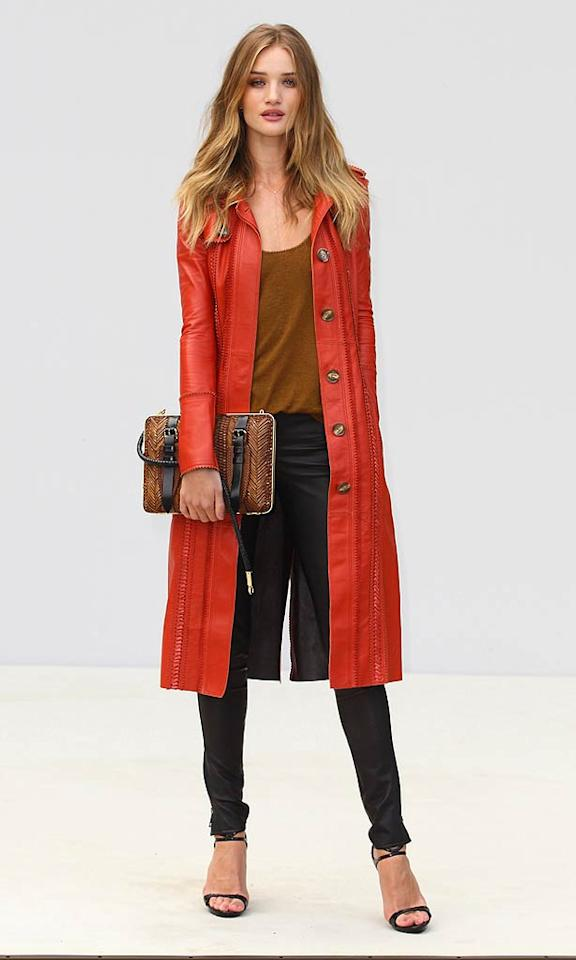"How hot was the orange leather Burberry trench that ""Transformers"" star Rosie Huntington-Whiteley rocked at the Burberry Prorsum fashion show in London this fall? (09/19/2011)"