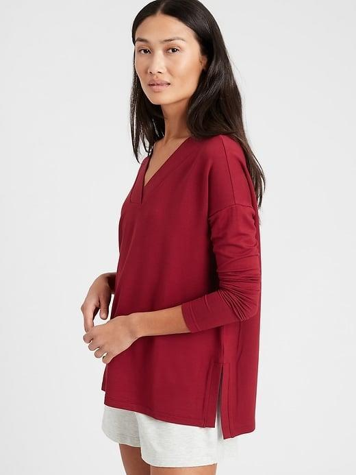 <p>One of these <span>Banana Republic Relaxed V-Neck Sweatshirts</span> ($34-$50, originally $50-$60) is great for a relaxing day at home.</p>