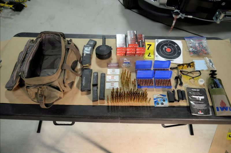FILE PHOTO: View of ammunition and magazines in possession by Meredith after law enforcement searched his hotel room