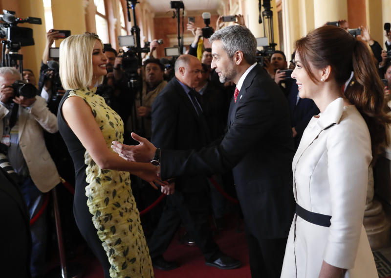 Ivanka Trump, President Donald Trump's daughter and White House adviser, left, is received by Paraguay's President Mario Abdo Benitez and his wife Silvana Lopez Moreira, at the Presidential Palace in Asuncion, Paraguay, Friday, Sept. 6, 2019. Ivanka Trump is on her third stop of a South American trip to promote women's empowerment. (AP Photo/Jorge Saenz)