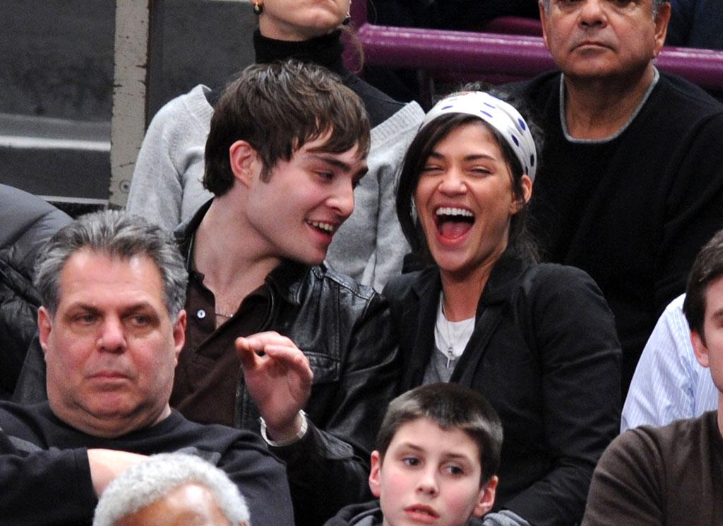 """""""Gossip Girl"""" costars and real-life couple Ed Westwick and Jessica Szohr shared a hearty laugh while taking in a Lakers-Knicks game at Madison Square Garden. James Devaney/<a href=""""http://www.wireimage.com"""" target=""""new"""">WireImage.com</a> - February 2, 2009"""