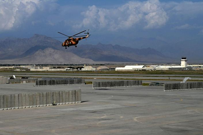 An Afghan helicopter takes off at the Bagram air base.