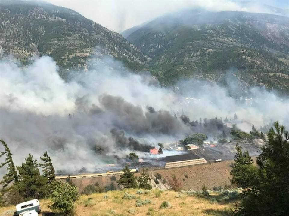 At least 200 people fled their homes on a moment's notice after fast-moving wildfire tore through the community of Lytton in B.C.'s Fraser Valley. Conditions in the area were dangerously dry and windy after the summer's record-breaking heatwave. (Edith Loring-Kuhanga/Facebook - image credit)