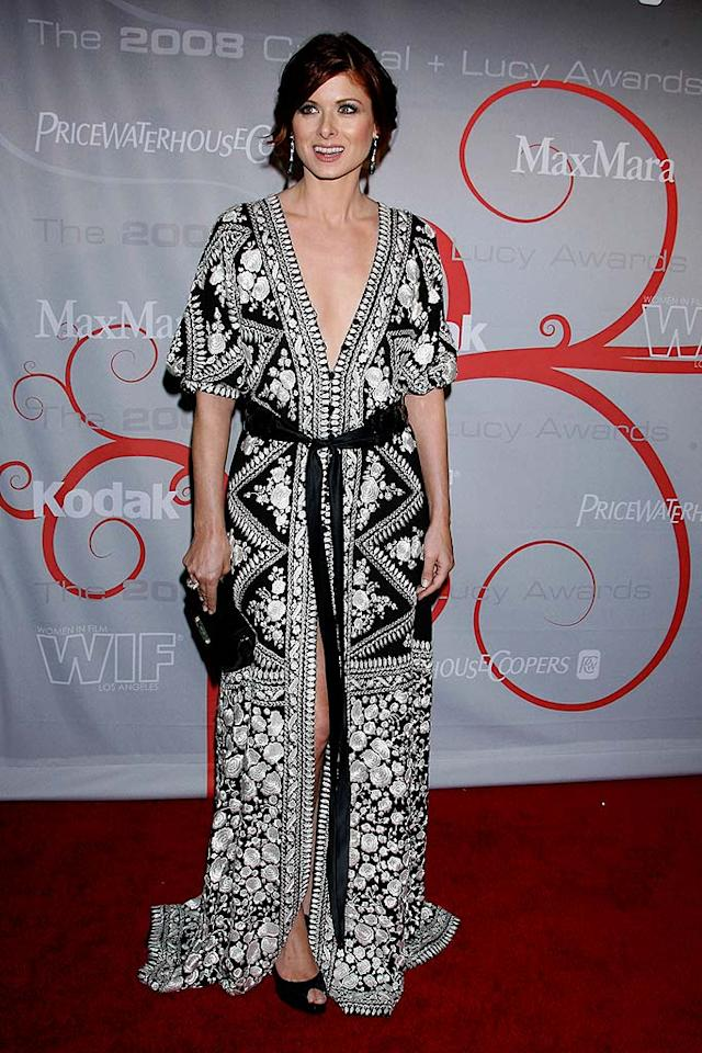 """We love the print on Debra Messing's dress. We just wish it was a little less revealing! Steve Granitz/<a href=""""http://www.wireimage.com"""" target=""""new"""">WireImage.com</a> - June 17, 2008"""