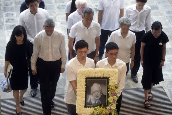 Family members of Lee Kuan Yew at his state funeral on 29 March 2015, second row left to right: Lee Suet Fern, Lee Hsien Yang, Lee Hsien Loong, Ho Ching and Lee Wei Ling. (File photo: AP)