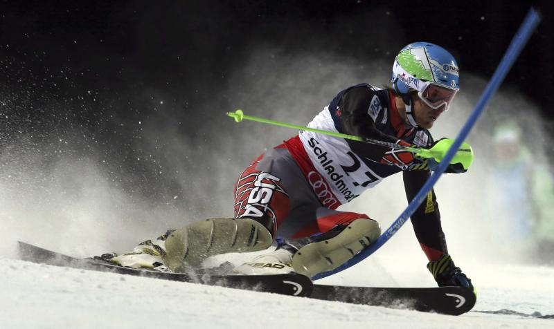United States' Ted Ligety competes in the slalom portion of the men's super-combined, at the Alpine skiing world championships in Schladming, Austria, Monday, Feb.11, 2013. (AP Photo/Alessandro Trovati)