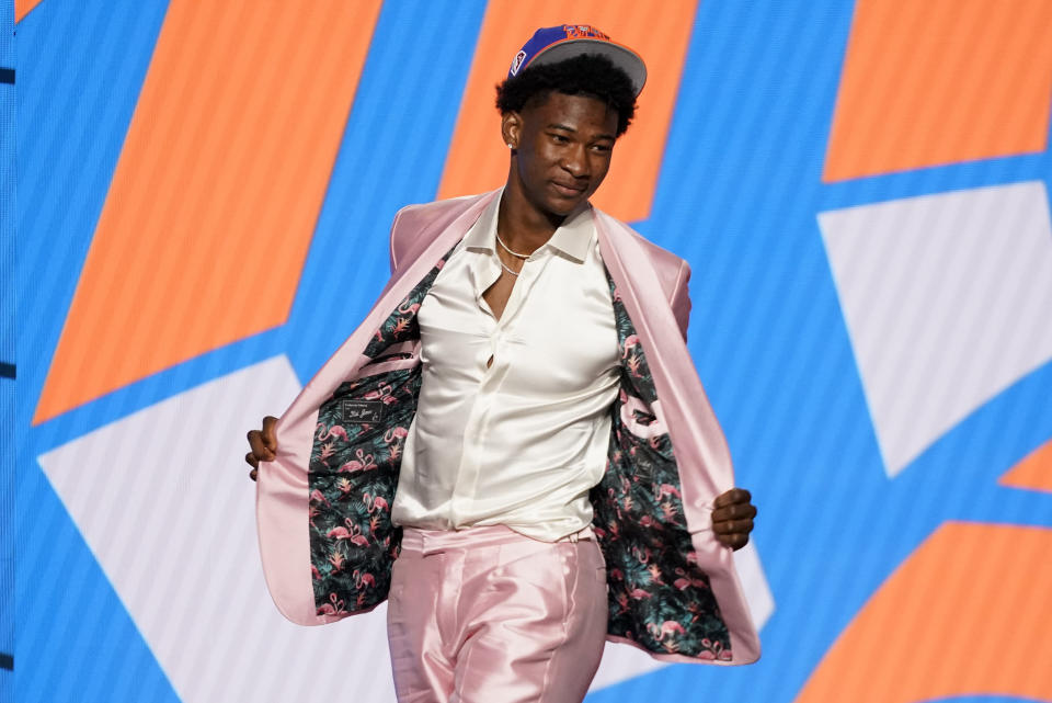 Kai Jones reacts after being selected as the 19th overall selection by the New York Knicks during the NBA basketball draft, Thursday, July 29, 2021, in New York. - Credit: AP