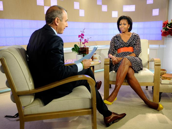 michelle obama speaking with matt lauer on the today show in 2011