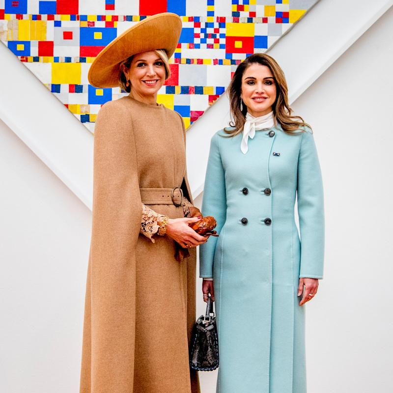 Queen Rania of Jordan Brings Retro, Regal Polish to the Transitional Statement Coat