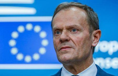 FILE PHOTO - European Council President Donald Tusk takes part in a news conference after being reappointed chairman of the European Council during a EU summit in Brussels