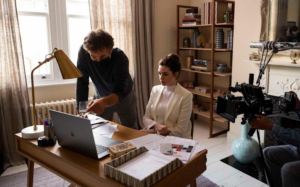 Anne Hathaway on the set of HBO's Locked Down - Susie Allnutt