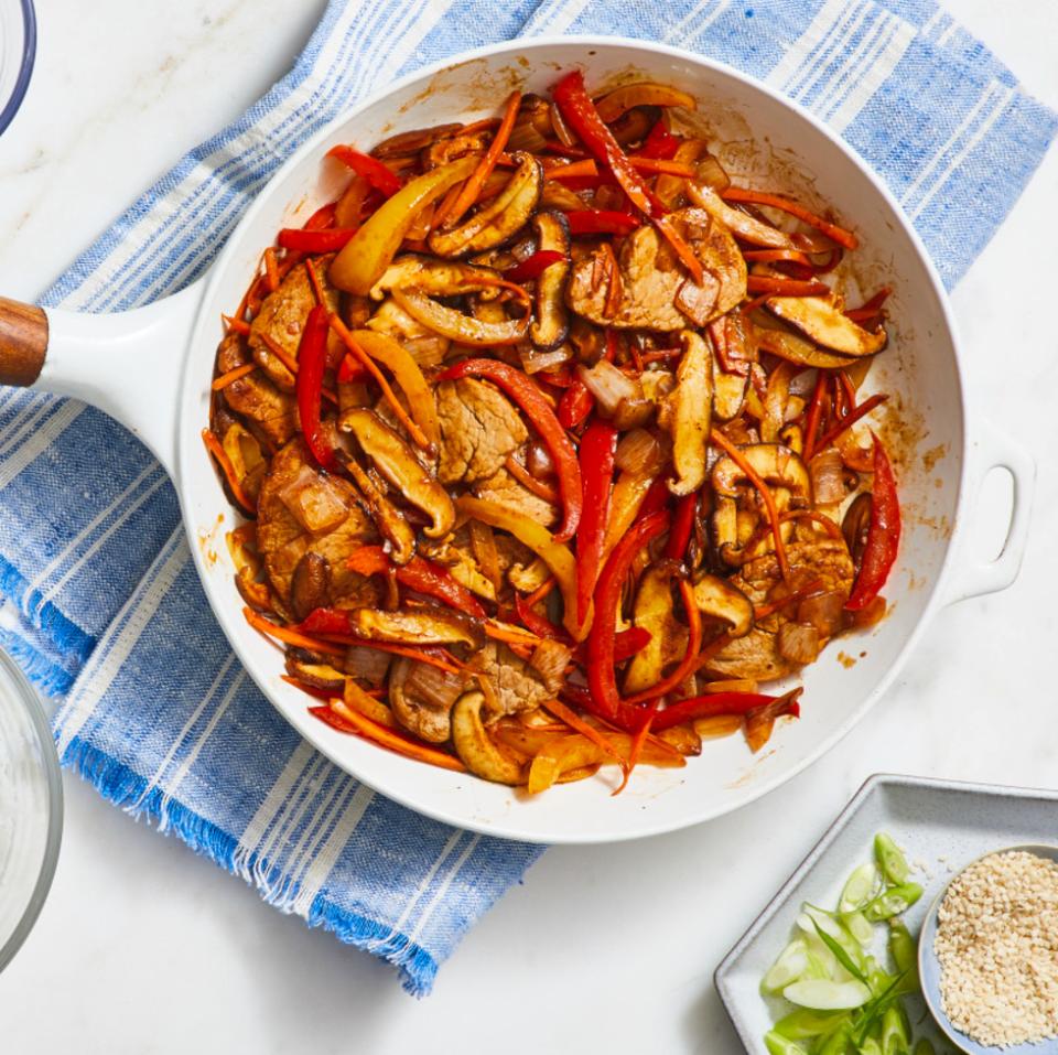 "<p>A weeknight dream come true: A complete meal in less than half an hour!</p><p><em><a href=""https://www.goodhousekeeping.com/food-recipes/easy/a28639176/pork-and-veggie-stir-fry-recipe/"" rel=""nofollow noopener"" target=""_blank"" data-ylk=""slk:Get the recipe for Pork and Veggie Stir Fry »"" class=""link rapid-noclick-resp"">Get the recipe for Pork and Veggie Stir Fry »</a></em></p>"
