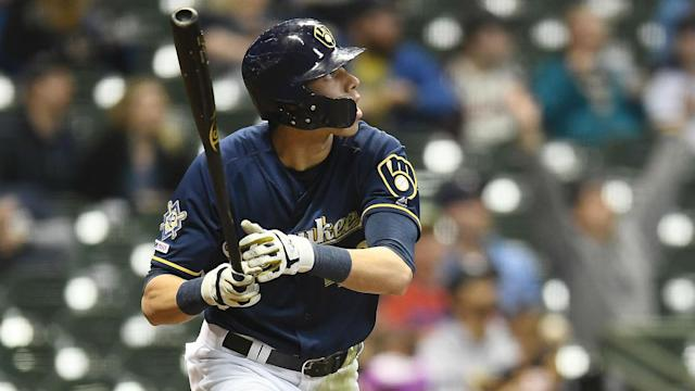 After chugging a beer during the NBA Eastern Conference Finals, Christian Yelich was in the Milwaukee Brewers' line-up on Friday.