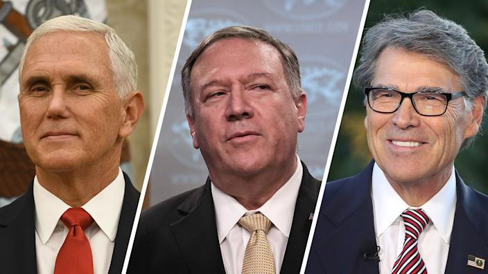 US Vice President Mike Pence, U.S. Secretary of State Mike Pompeo and U.S. Secretary of Energy Rick Perry. (Photos: Brendan Smialowski/Getty Images, Drew Angerer/Getty Images, Mark Wilson/Getty Images)