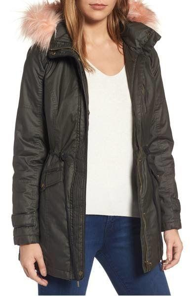 "30% off from $129. Get it <a href=""https://shop.nordstrom.com/s/sebby-waxed-cotton-parka-with-faux-fur-hood/4631754?origin=category-personalizedsort&fashioncolor=OLIVE"" target=""_blank"">here</a>."