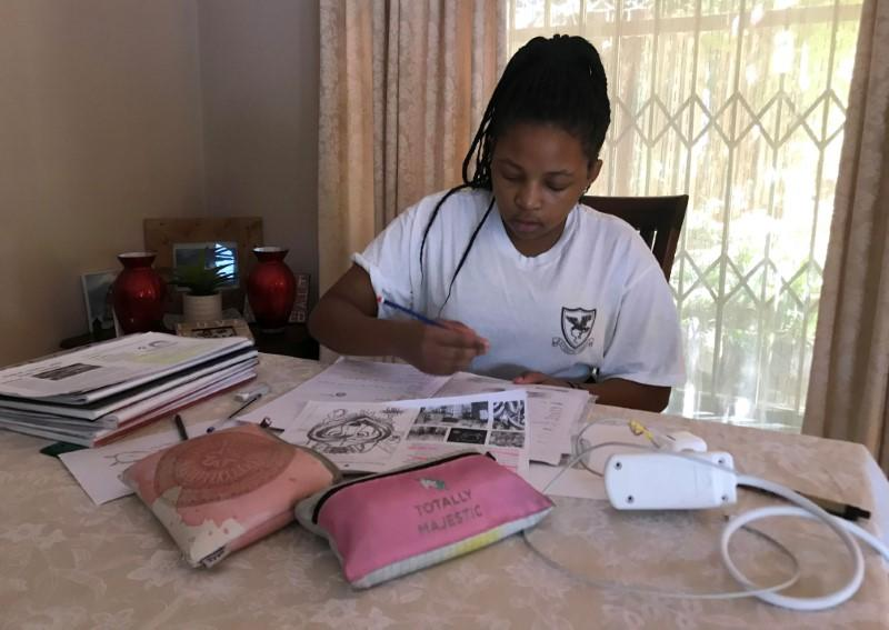 Learner Zinzi Lerefolo practices drawing during COVID19 outbreak in Johannesburg