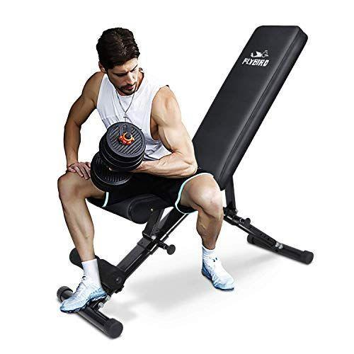 """<p><strong>FLYBIRD</strong></p><p>amazon.com</p><p><strong>$159.99</strong></p><p><a href=""""https://www.amazon.com/dp/B07DNYSJ8W?tag=syn-yahoo-20&ascsubtag=%5Bartid%7C2139.g.36132587%5Bsrc%7Cyahoo-us"""" rel=""""nofollow noopener"""" target=""""_blank"""" data-ylk=""""slk:BUY IT HERE"""" class=""""link rapid-noclick-resp"""">BUY IT HERE</a></p><p>With over 10,000 reviews on Amazon, a 4.5/5 rating, and an """"Amazon's Choice"""" badge, it's safe to say Flybird's weight bench is worth every penny. (It doesn't hurt that Amazon has shaved $80 off the asking price.) With seven back angles and three seat positions, this option can be adjusted to your liking. When you're done with your strength training session, you can fold it up and store in your closet. </p>"""