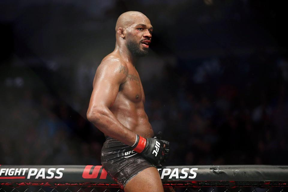 Jon Jones reacts after his fight Dominick Reyes (not pictured) during UFC 247 at Toyota Center.