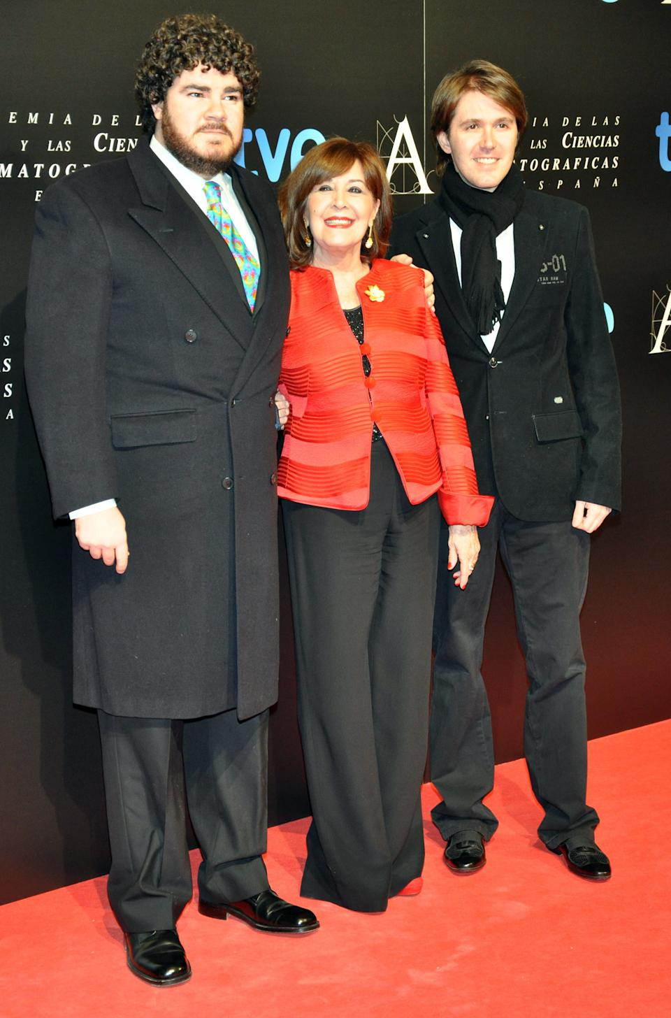MADRID, SPAIN - JANUARY 28: Concha Velasco and her son Manuel Marso (R) and Paco Marso (L) attend Goya awards final candidates party on January 28, 2013 in Madrid, Spain.  (Photo by Europa Press/Europa Press via Getty Images)