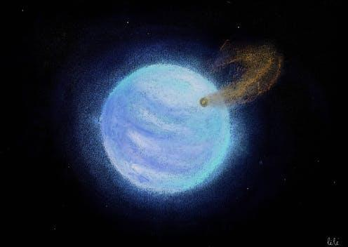 "<span class=""caption"">Artist impression of KELT-9 b, the orange blob orbiting a blue star.</span> <span class=""attribution""><span class=""source"">Léa Changeat</span>, <span class=""license"">Author provided</span></span>"