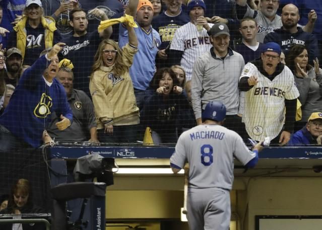 Manny Machado gets booed by Brewers fans during NLCS Game 6. (AP)