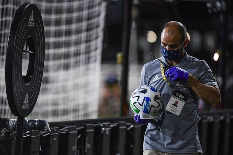Strict coronavirus protection protocols were in full force at the MLS is Back Tournament. (Photo by Mark Brown/Getty Images)
