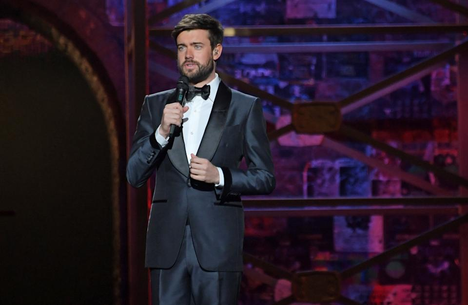 Jack Whitehall speaks during The BRIT Awards 2020 rehearsals at The O2 Arena on February 18, 2020 in London, England.  (Photo by David M. Benett/Dave Benett/Getty Images)
