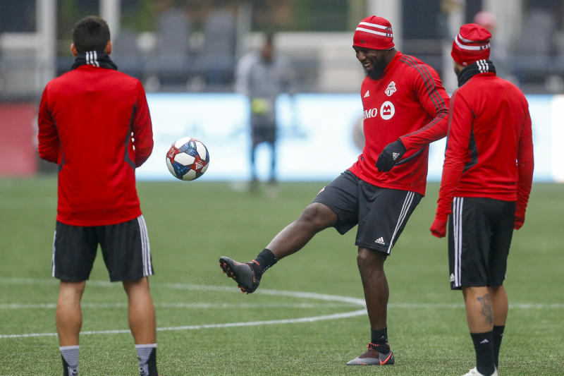 Toronto FC forward Jozy Altidore (middle) kicked a ball for the first time in over a month on Saturday. (Joe Nicholson/USA Today)