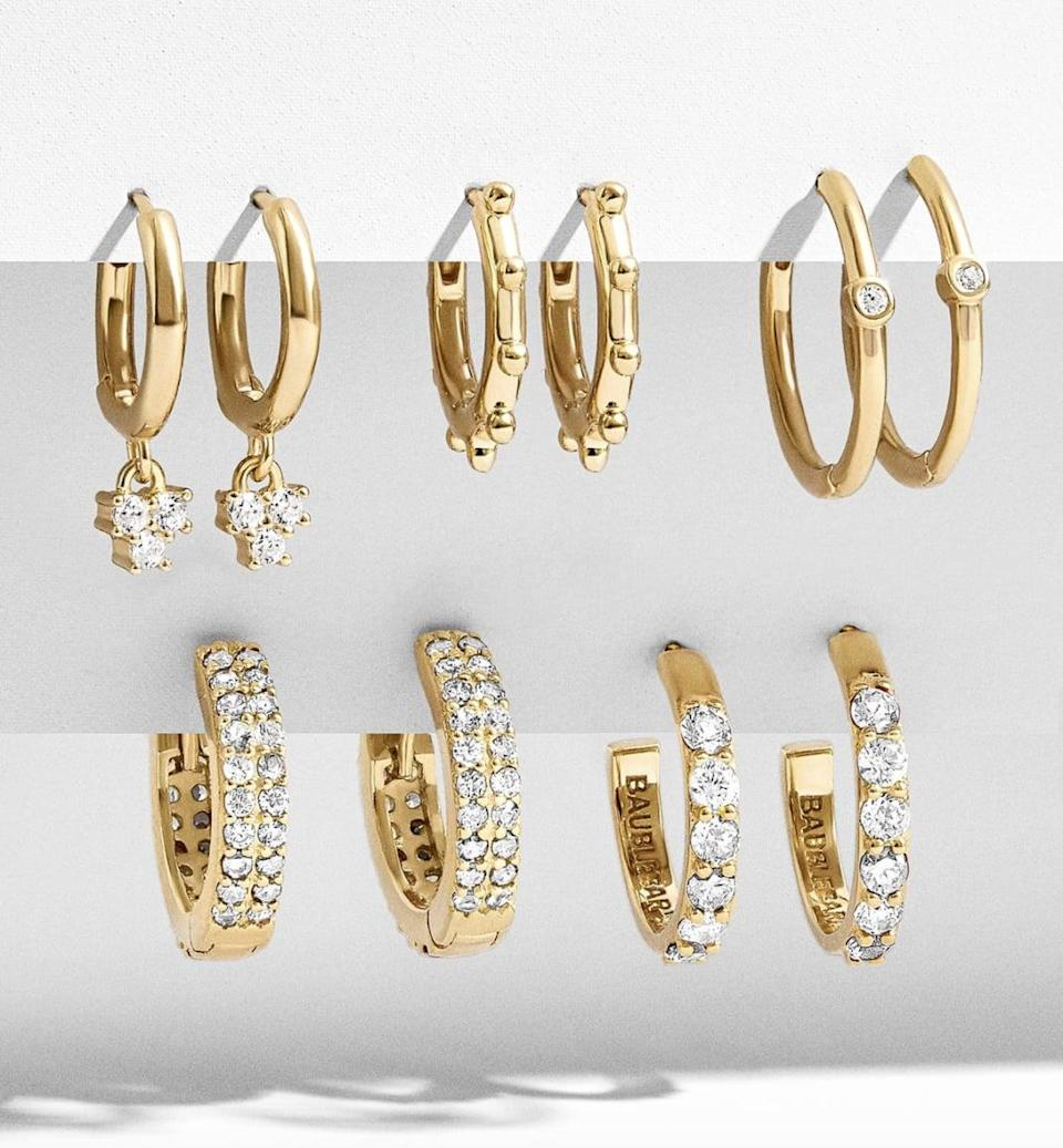 <p>This <span>Baublebar Liza 18K Gold Hoop Earring Kit</span> ($98) will be a chic addition to their jewelry box.</p>
