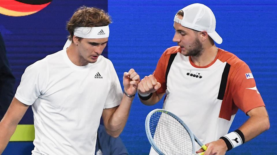 Pictured here, German doubles partners Zverev and Struff in the ATP Cup.