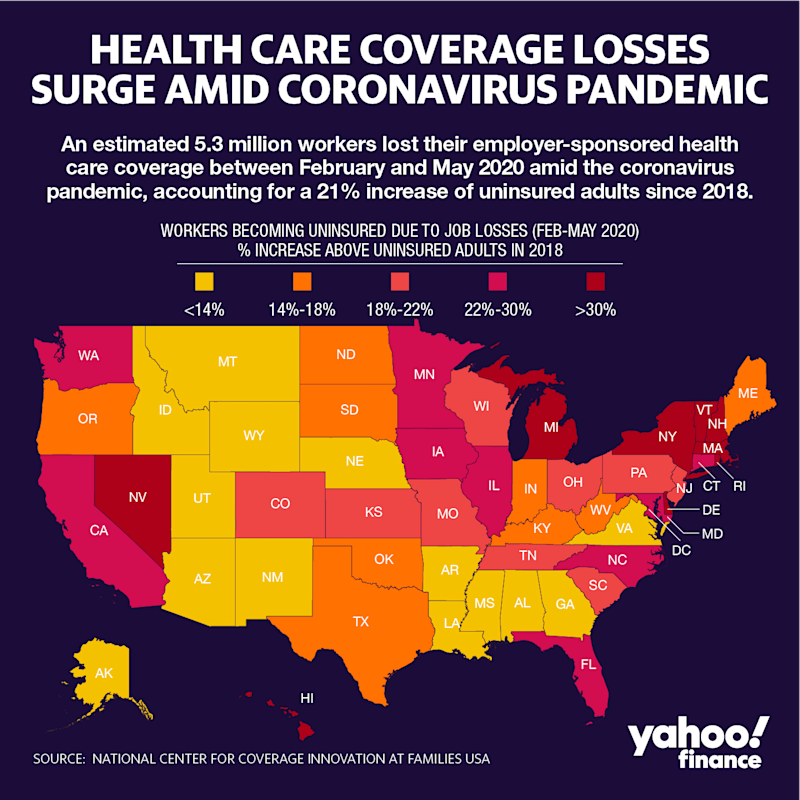 The Northeast has been hit particularly hard by health care coverage losses. (Graphic: David Foster/Yahoo Finance)