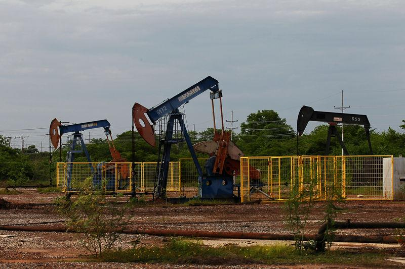 Oil pumpjacks are seen in Lagunillas
