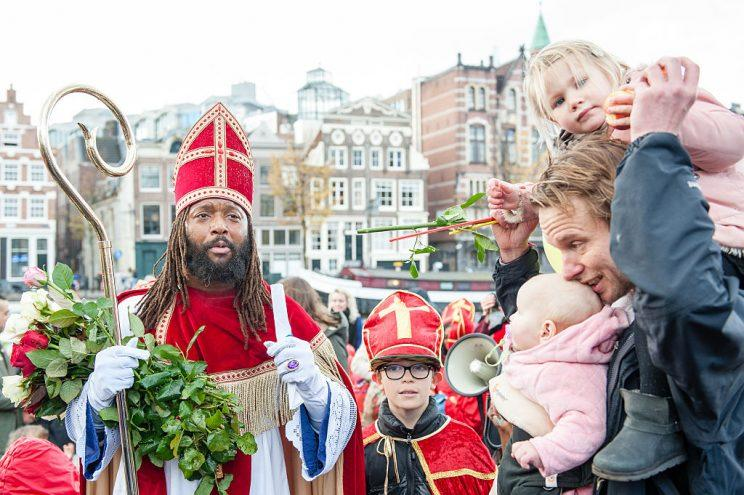 Dutch actor Patrick Mathurin has protested Zwarte Piete. Here he's dressed as Sinterklaas (Santa Claus) in Amsterdam November 5, 2016. (Photo by Romy Arroyo Fernandez/NurPhoto via Getty Images)