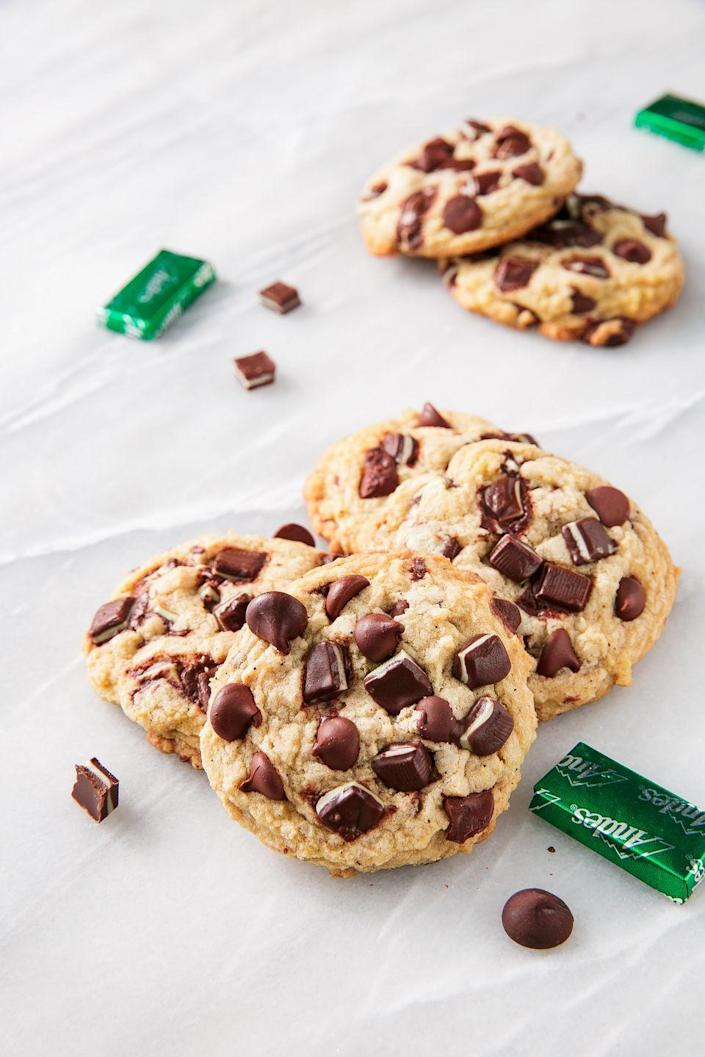 "<p>Espresso powder is the secret ingredient here...don't skip it!</p><p>Get the recipe from <a href=""https://www.delish.com/holiday-recipes/christmas/a25440155/andes-chip-cookies-recipe/"" rel=""nofollow noopener"" target=""_blank"" data-ylk=""slk:Delish"" class=""link rapid-noclick-resp"">Delish</a>.</p>"