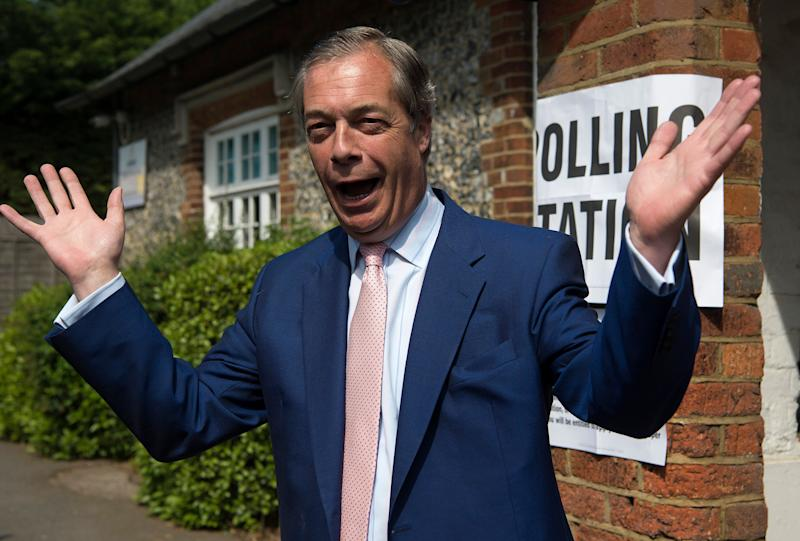 Brexit Party leader Nigel Farage arrives to cast his vote for the European Parliament elections at a polling station at the Cudham Church of England Primary School in Biggin Hill, Kent. (Photo by Kirsty O'Connor/PA Images via Getty Images)
