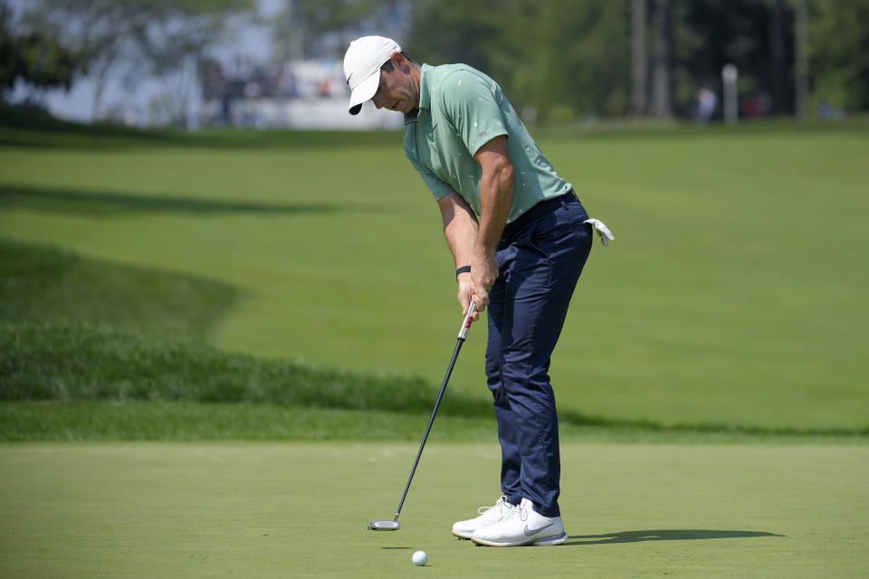 Rory McIlroy, of Northern Ireland, putts on the first green during the second round of the BMW Championship golf tournament, Friday, Aug. 27, 2021, at Caves Valley Golf Club in Owings Mills, Md. (AP Photo/Nick Wass)