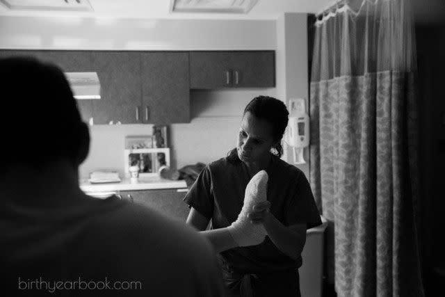 """""""This is from a very long birth, and the midwife had had an especially busy day. Even though it was after3 a.m. when this woman delivered her baby, the midwife provided compassionate care in the most calm and soothing manner."""""""