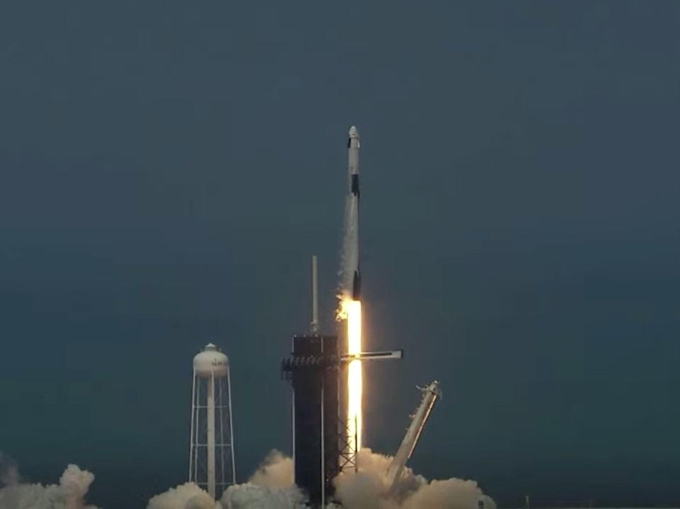 The Falcon 9 rocket launches with astronauts Bob Behnken and Doug Hurley from Cape Canaveral, Florida, May 30, 2020.