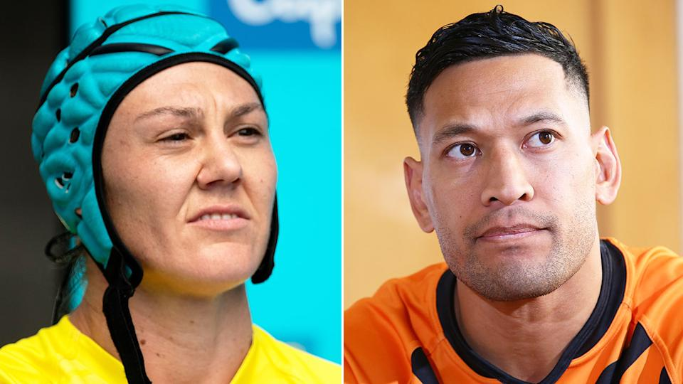 Seen here, rugby sevens star Sharni Williams and former Wallaby Israel Folau.