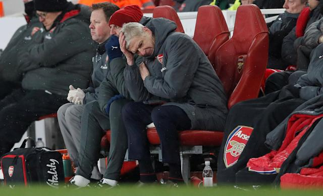 """Soccer Football - Premier League - Arsenal vs Manchester City - Emirates Stadium, London, Britain - March 1, 2018 Arsenal manager Arsene Wenger looks dejected REUTERS/David Klein EDITORIAL USE ONLY. No use with unauthorized audio, video, data, fixture lists, club/league logos or """"live"""" services. Online in-match use limited to 75 images, no video emulation. No use in betting, games or single club/league/player publications. Please contact your account representative for further details. TPX IMAGES OF THE DAY"""