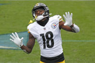 Pittsburgh Steelers wide receiver Diontae Johnson celebrates after scoring a touchdown against the Tennessee Titans in the first half of an NFL football game Sunday, Oct. 25, 2020, in Nashville, Tenn. (AP Photo/Wade Payne)