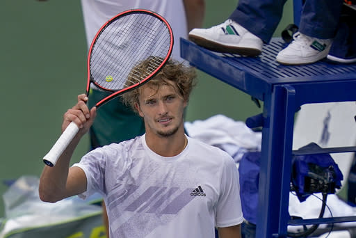Alexander Zverev, of Germany, reacts after defeating Alejandro Davidovich Fokina, of Spain, during the fourth round of the US Open tennis championships, Sunday, Sept. 6, 2020, in New York. (AP Photo/Seth Wenig)