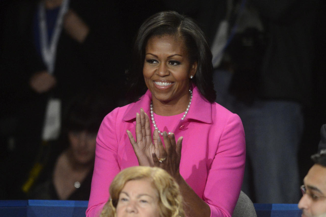 HEMPSTEAD, NY - OCTOBER 16:  First lady Michelle Obama sits in the audience before the start of the presidential town hall style debate at Hofstra University October 16, 2012 in Hempstead, New York. During the second of three presidential debates, the candidates fielded questions from audience members on a wide variety of issues. (Photo by Michael Reynolds-Pool/Getty Images)